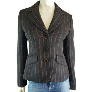 Boden Wool Pink Striped Blazer Jacket Elbow Patch